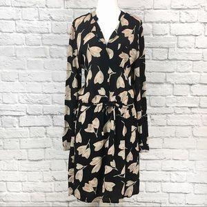 Lucky Brand Black Leaf Print Tie Waist Dress Sz XL